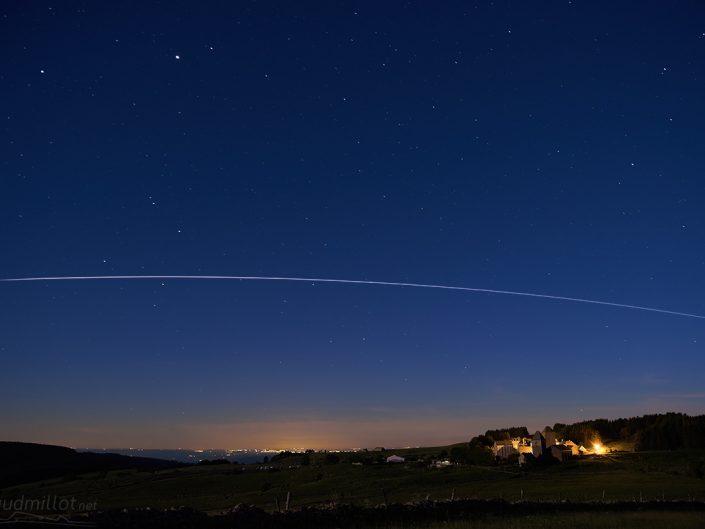 Passage de l'ISS depuis le Village d'Aubrac, Aveyron, Juin