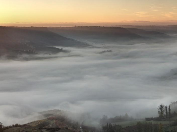 Lever de soleil depuis Cassagnes, Goutrens, Aveyron, Novembre