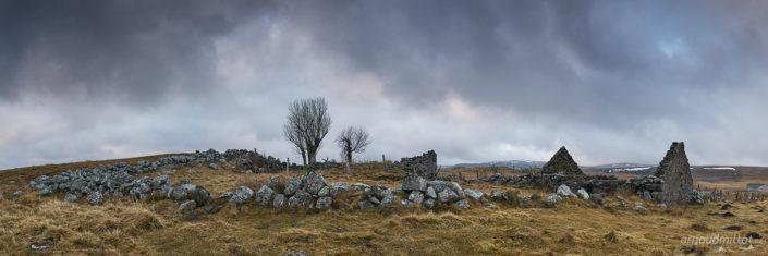Ruines du buron de Cap Combattut, Marchastel, Lozère, Février