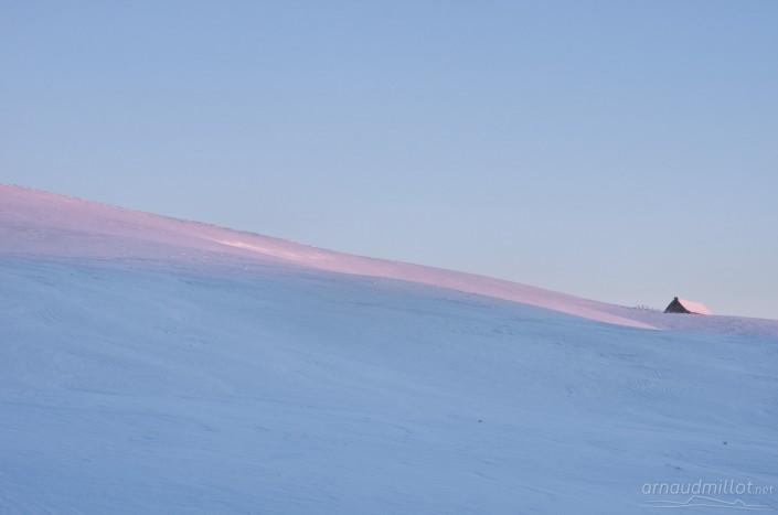 buron du puy de gudette sous la neige, Aubrac, Saint Urcize, Cantal