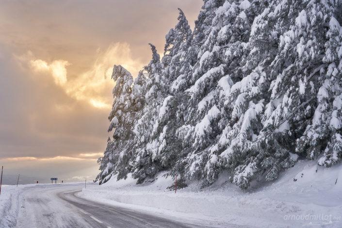 Route enneigée vers le Triadou, Saint Chély d'Aubrac, Aveyron, Janvier