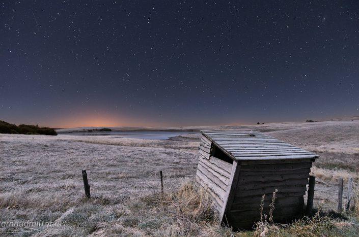 Lac des Moines sous les étoiles, Saint Chély d'Aubrac, Aveyron, Octobre