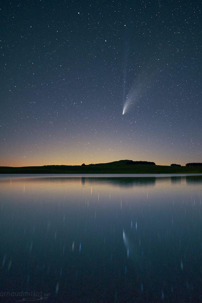 Comète Neowise C/2020 F3 au lac des Moines, Saint Chély, Aveyron, Juillet