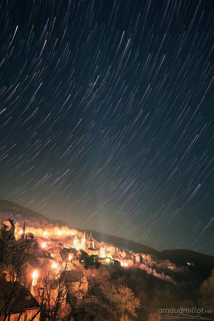 Filé d'étoiles à Conques, Aveyron, Février