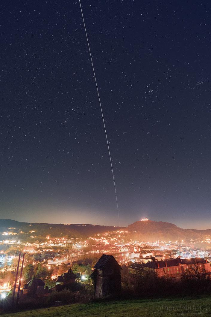 Passage de l'ISS au Chateau de Calmont, Espalion, Aveyron, Mars