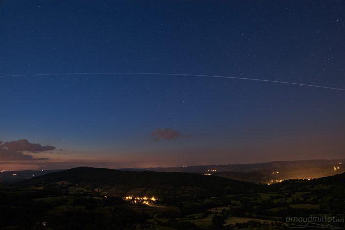 Passage de l'ISS depuis la Croix de Bel, Goutrens, Aveyron, Juin