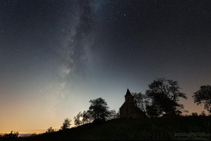 Saint Jean le Froid et Voie Lactée, Mouret, Aveyron, Juillet
