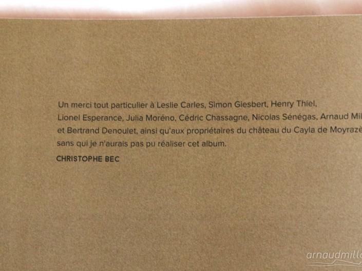 Les tourbières noires, Christophe Bec, remerciements